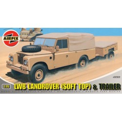 LWB LANDROVER (SOFT TOP) & TRAILER (1/76)